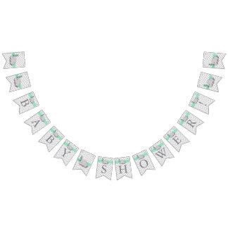 Bandeirinha Chá de fraldas cinzento verde, branco do elefante