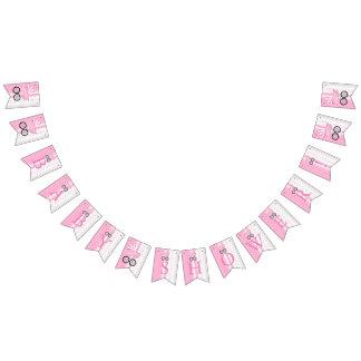 Bandeirinha Chá de fraldas cor-de-rosa e branco das bolinhas