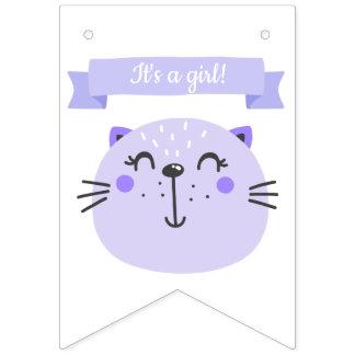 Bandeirinha É uma menina! chá de fraldas roxo bonito do gato |