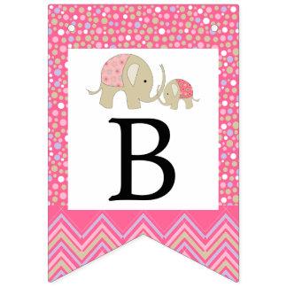 Bandeirinha Elefante e chá de fraldas boémios cor-de-rosa de