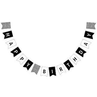 Bandeirinha Feliz aniversario preto e branco