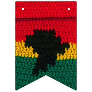 Bandeirinha Impressão vermelho do Crochet do verde do ouro do
