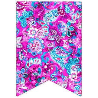 Bandeirinha Padrões de flores cor-de-rosa azuis bonitos