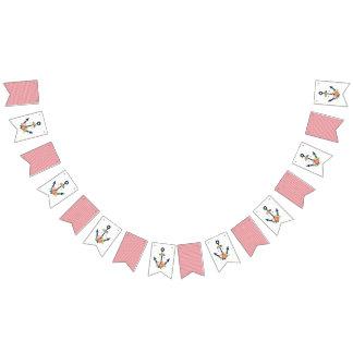 Bandeirinha Partido de chá floral do bebé da âncora náutica