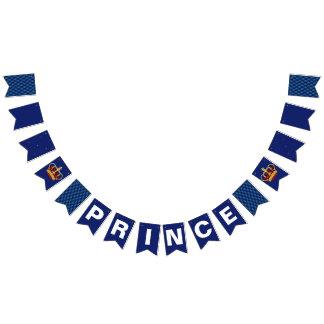 Bandeirinha Príncipe real Coroa & chá de fraldas dos azuis