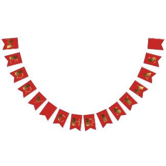Bandeirinha Tipografia vermelha elegante do chique do ouro do