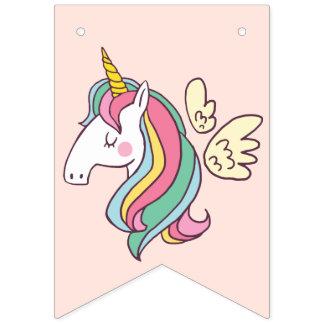 Bandeirinha Unicórnio bonito do arco-íris do vôo do Doodle do