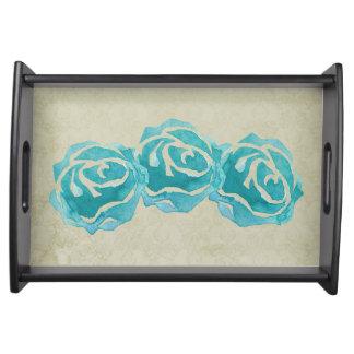 Bandeja 3 rosas da aguarela da cerceta na cor damasco de