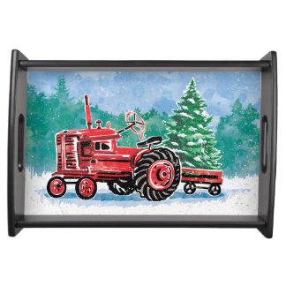 Bandeja A árvore de Natal vermelha de VintageTractor