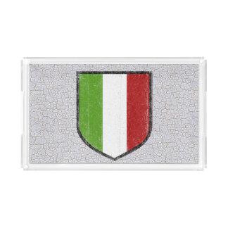 Bandeja acrílica da comida da bandeira italiana