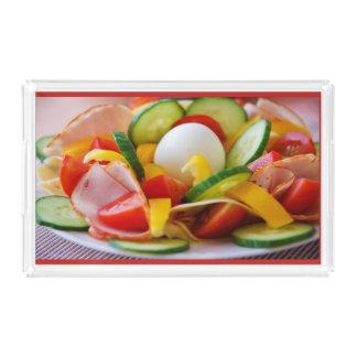 Bandeja acrílica do serviço da salada e do ovo