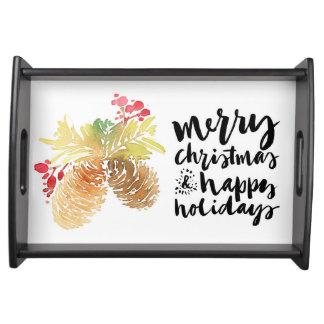 Bandeja Aguarela do Natal | - boas festas Pinecones