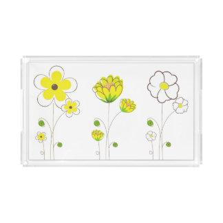 Bandeja amarela da flor da aguarela