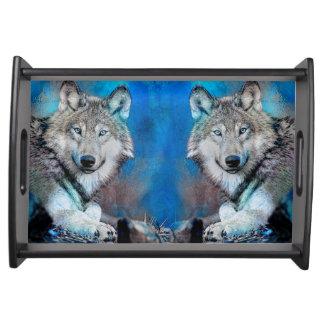 Bandeja Arte azul dos meios mistos do lobo
