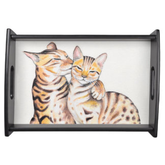 Bandeja Arte bonito da aguarela de dois gatos de Bengal