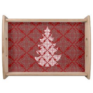 Bandeja Árvore de Natal vermelha clássica incorporada do