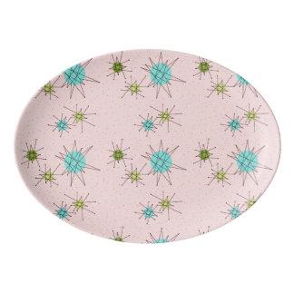 Bandeja atômica icónica cor-de-rosa da porcelana