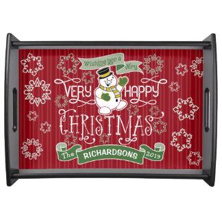 Bandeja Bandeira do costume da tipografia do Natal feliz