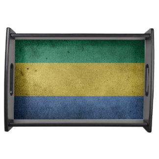 Bandeja Bandeira do Grunge do vintage de Gabon