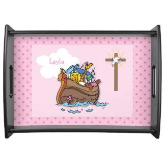 Bandeja Baptismo customizável do bebê da arca de Noah,