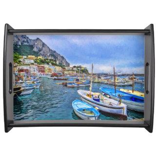 Bandeja Barcos da arte italiana da foto de Capri