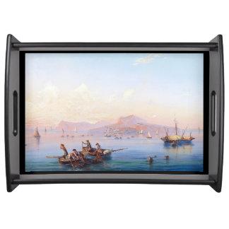 Bandeja Barcos de mar Mediterrâneo de Capri Italia que