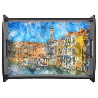 Bandeja Barcos no canal grande de Veneza Italia