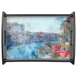 Bandeja Barcos no canal grande em Veneza Italia