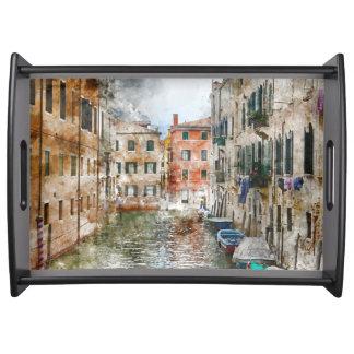 Bandeja Barcos nos canais de Veneza Italia