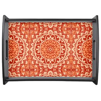Bandeja Batik do sudoeste da mandala de Sun, laranja coral