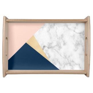 Bandeja bloco azul da cor do pêssego de mármore branco