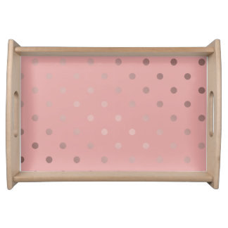 Bandeja bolinhas cor-de-rosa do rosa do ouro do falso