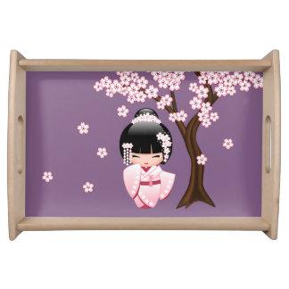 Bandeja Boneca branca de Kokeshi do quimono - menina de