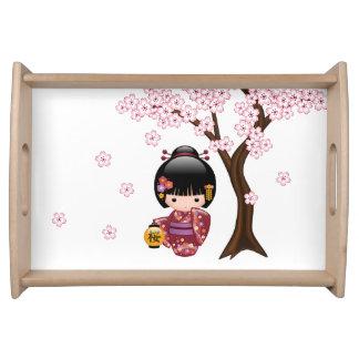 Bandeja Boneca de Sakura Kokeshi - menina de gueixa