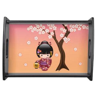 Bandeja Boneca de Sakura Kokeshi - menina de gueixa no