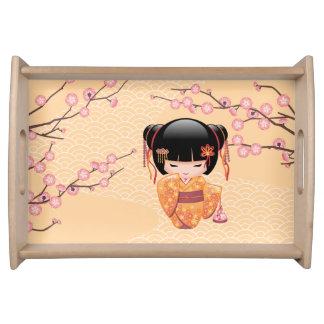 Bandeja Boneca de Ume Kokeshi - menina de gueixa japonesa