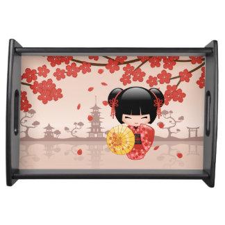 Bandeja Boneca vermelha de Sakura Kokeshi - gueixa