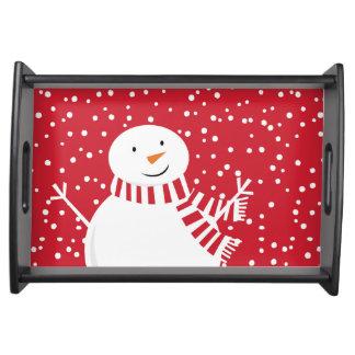 Bandeja boneco de neve vermelho e branco contemporâneo