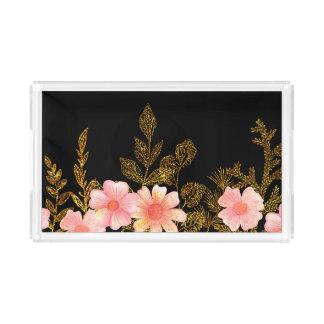 Bandeja bonito do serviço das flores do pêssego e
