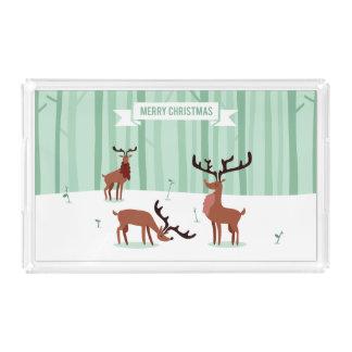 Bandeja bonito do serviço do Natal das renas