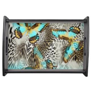 Bandeja Borboletas do impressão & da cerceta do leopardo
