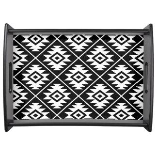 Bandeja Branco grande estilizado de Ptn do símbolo asteca