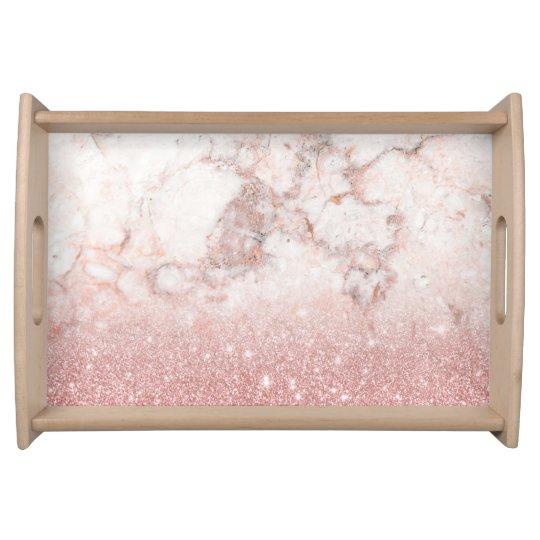 Bandeja Brilho cor-de-rosa Ombre de mármore branco do ouro