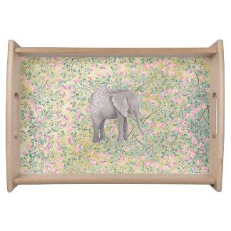 Bandeja Brilho do ouro das flores do elefante da aguarela