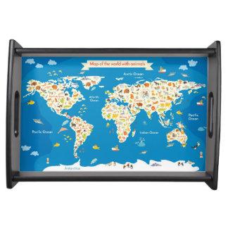 Bandeja Caçoa o mapa do mundo com animais