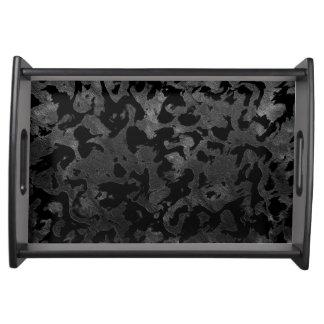 Bandeja Camuflagem cinzenta preta e escura de Camo moderno