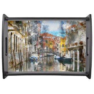 Bandeja Canais da aguarela de Veneza Italia