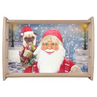 Bandeja Cão do Pug dos presentes do Natal de Papai Noel w