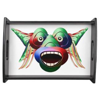 Bandeja Cara engraçada futurista do caráter do monstro