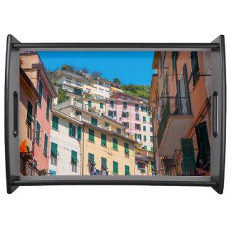 Bandeja Casas coloridas em Cinque Terre Italia